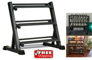 details about marcy 3 tier metal steel home workout gym dumbbell weight rack storage stand new