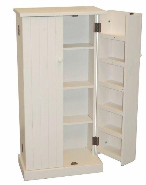 White Wooden Kitchen Pantry Cabinet Storage Organizer Food Cupboard Shelves Door For Sale Online Ebay