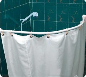 details about shower curtain rod rail bath pole curved bath corner pole white aluminum alloy
