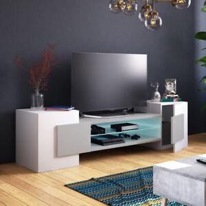 details sur meuble tv gaelin 160 cm blanc beton effet chene noir led optionnel moderne