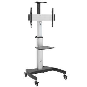 details sur chariot meuble tv avec roulette support tele pied pivotant max 70 max 50 kg