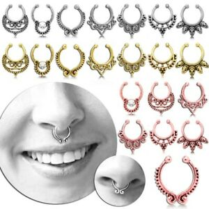 Septum Nasenring Fake Segment Piercing Clicker Clip On Helix Hänger Vintage Set
