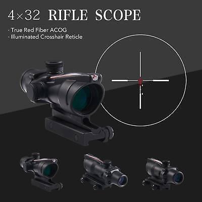 4x32 Tactical Acog Rifle Scope With True Fiber Optic Red Illuminated Crosshair 610731115128 Ebay