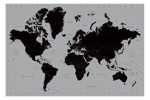 World Map Poster Contemporary Black and Silver Style Large New   eBay Image is loading World Map Poster Contemporary Black and Silver Style