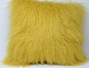 yellow mongolian fur pillow online