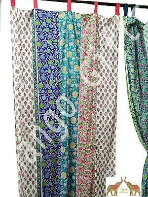 indian hand block print partchwork boho curtain window panels 100 cotton floral ebay