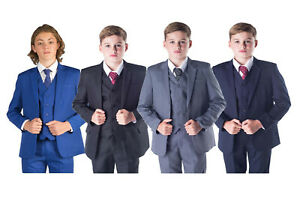 details about boys suits 5 piece wedding page boy party prom suit blue black grey baby 14 yrs