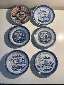 6 PCS Antique Chinese Export Blue White Canton Porcelain Plates