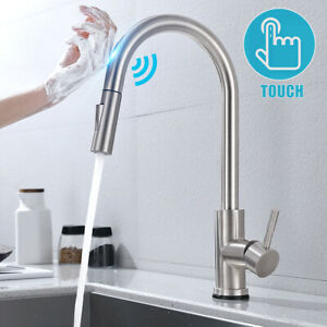 details about kitchen faucets with pull down sprayer stainless steel touch sensor deck install