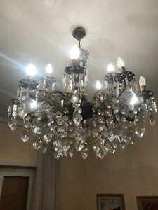 59.0 € | homcom lampadario in cristallo moderno altezza regolabile,. Lampadario In Bronzo 12 Luci 12 Bracci 8 4 Con Gocce Di Cristallo Pendenti Ebay