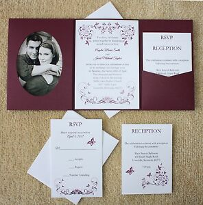 Details About 100 Personalized Custom Burgundy Erfly Photo Pocket Wedding Invitations Set