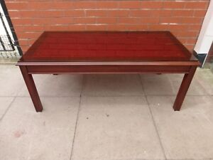 details about a red leather inlay glass coffee table delivery available