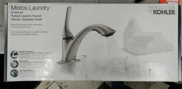 kohler mistos 1 handle pull out laundry faucet in vibrant stainless
