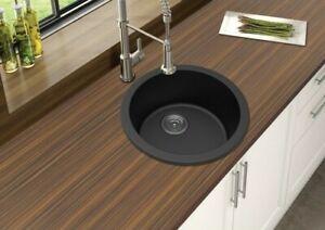 details about arte stone 460mm round premium black granite kitchen sink flush top undermount