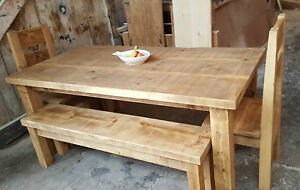 details about solid wood rustic chunky plank wooden table bench chair sets made to order
