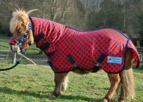 maxima combo polaire tapis pour cheval poney et shetland rouge bleu marine spot 3 0 7 0 equitation couverture equitation