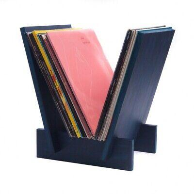 analogue studio vee wood vinyl record storage rack lp record holder blue 5055581870295 ebay