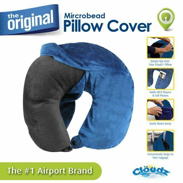 cloudz washable travel neck pillow cover blue with mp3 pocket