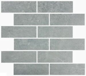 details about style selections skyros gray 12x12 glazed porcelain brick mosaic tile 90 ct new