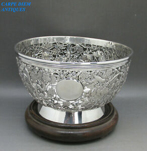 ANTIQUE CHINESE EXPORT SOLID SILVER PIERCED ROSE BOWL & STAND, SEAL MARK c1890