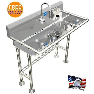ada hand wash sink 1 station 40 electronic faucet free standing stainless steel ebay