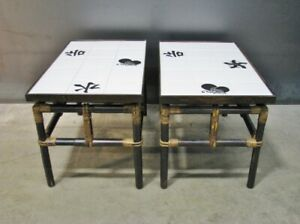 details about 1950s pair ficks reed bamboo end tables w asian inspired tile tops far horizons