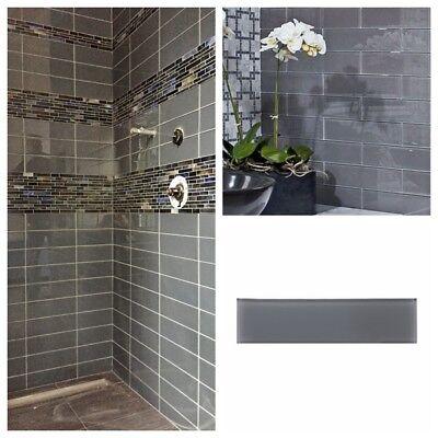 pebble gray glass subway tile for kitchen bachsplash bathroom wall 3 x 12 ebay