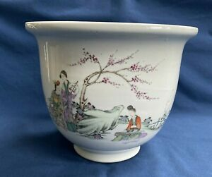 "Antique Chinese Porcelain Planter Pot Women in Garden Calligraphy Poem 7 5/8"""