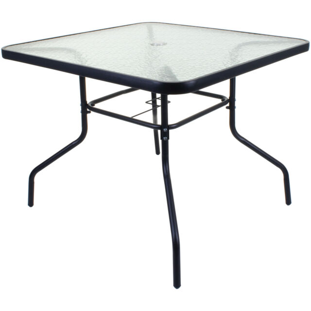 100cm square glass table black metal frame outdoor garden patio furniture large