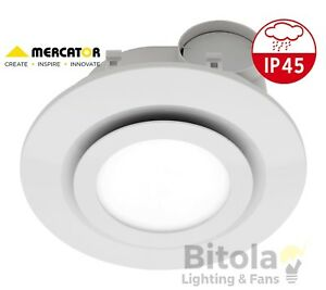 details about new mercator starline white 290mm 16w led light bathroom exhaust fan round