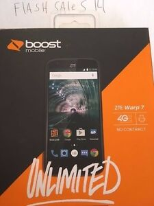 New Boost Mobile ZTE Warp 7 16GB Memory Prepaid Cell Phone
