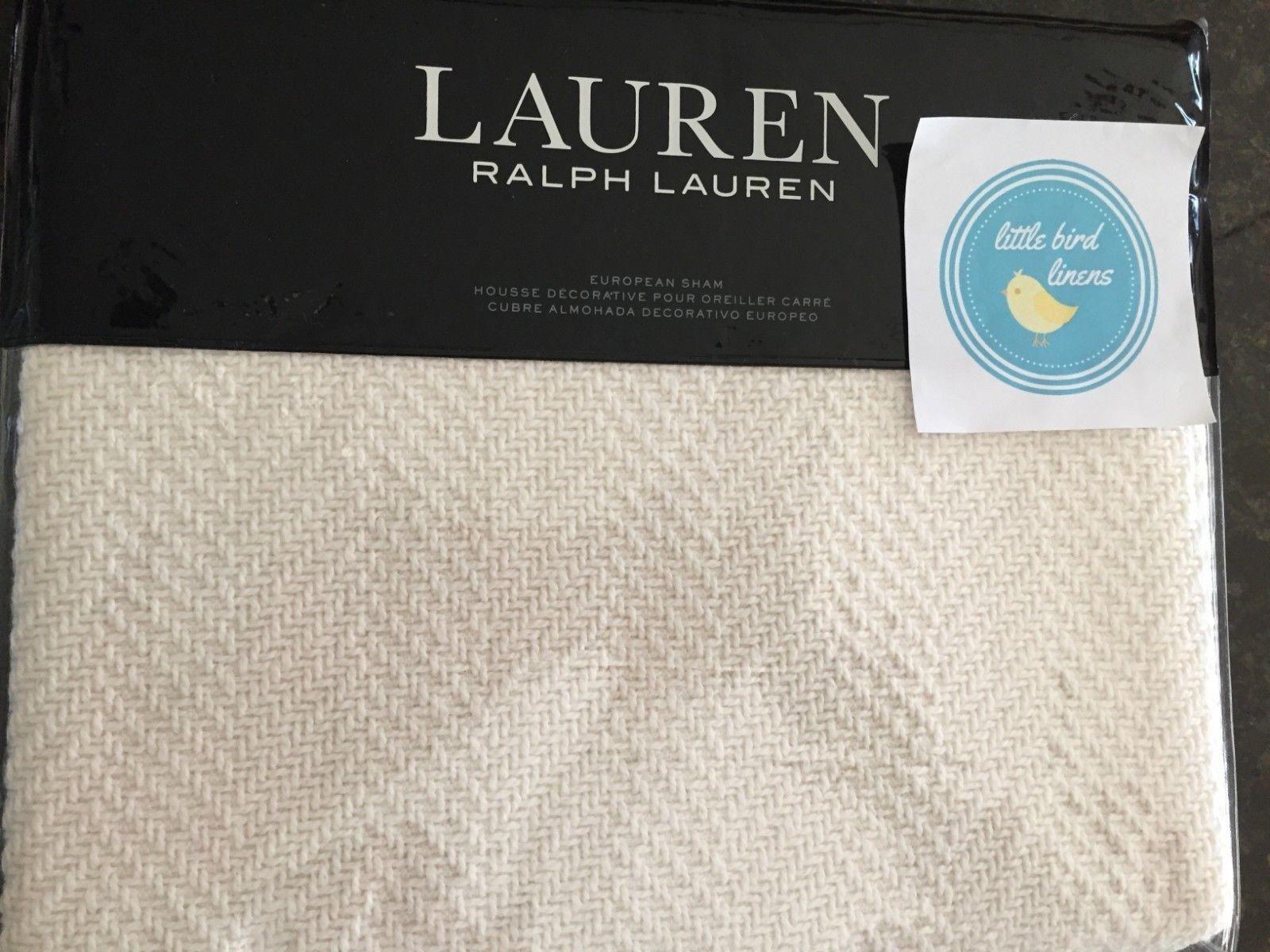ralph lauren euro pillow sham yasmine herringbone cotton cream a9z072