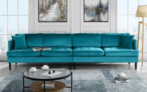 Mid Century Modern Extra Large Velvet Sofa 4 Seat Living Room Couch Blue