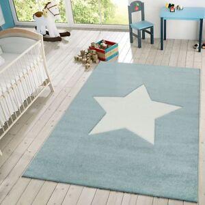 details sur tapis enfant chambre enfant moderne 3d etoile tapis de jeux pastel bleu blanc