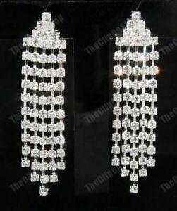 Image Is Loading U Clip On Rhinestone Diamante Chandelier Crystal Drop
