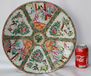 37 cm big chinese plate famille rose mandarin porcelain pottery 19th c century