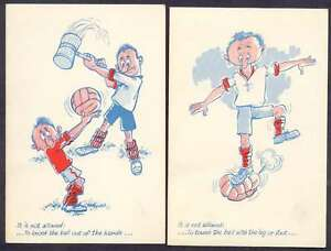 Art ? Comic Soccer It Is Not Allowed x11 Postcards