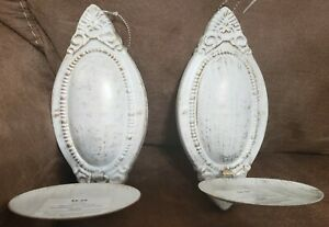 Set of 2 Hobby Lobby White and Gold Ornate Metal Wall ... on Hobby Lobby Wall Candle Sconces Wall Candle Holders id=13473
