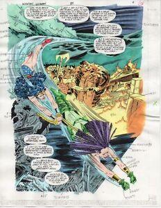Original 1994 Wonder Woman 89 splash page 12 DC Comics color guide art: 1990's