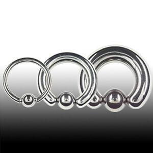 Piercing Stahl Ring Klemmkugel 5mm Brust Ohr Intim Dicker Klemm Ring