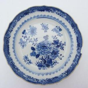 CHINESE BLUE AND WHITE SAUCER DISH WITH BARBED RIM, 18th CENTURY