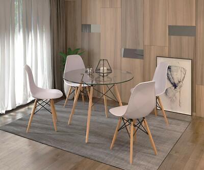 ensemble table chaises scandinave ronde verre table et lot de 4 blanc chaise ebay