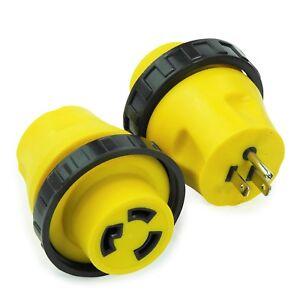 RV Power Cord Adapter 15 Amp Male to 30 Amp Twist Lock