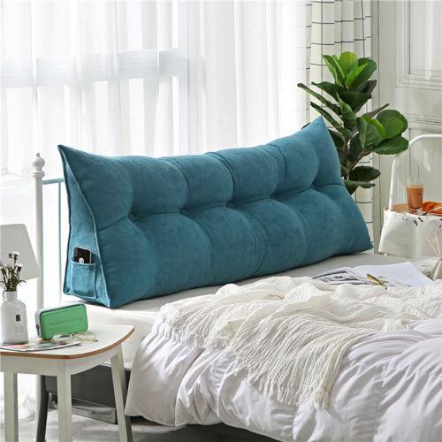 2019 twin queen king velvet wedge backrest bed pillow cushion reading triangular