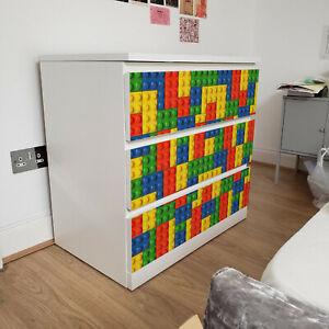 Se non hai tempo per verniciare o tappezzare, con i nostri adesivi decorativi puoi rinnovare una stanza in pochi minuti. Ikea 3 Cassetti Malm Lego Mattoni Adesivo Tessile Rimovibile Per Mobili Ebay