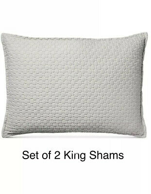 hotel collection set of 2 speckle cotton grey quilted king pillow shams set 636189854938 ebay