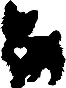 Download Yorkie silhouette vinyl decal/sticker cute animal Dog ...
