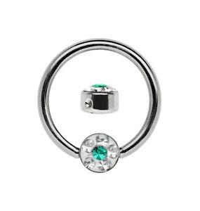 Piercing BCR Brust Nasen Ring 1,2mm + 4mm Epoxy Strass Platte Stahl Größe 7-12mm