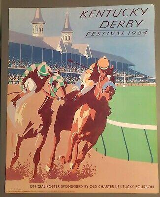 1984 kentucky derby poster print charter bourbon ebay