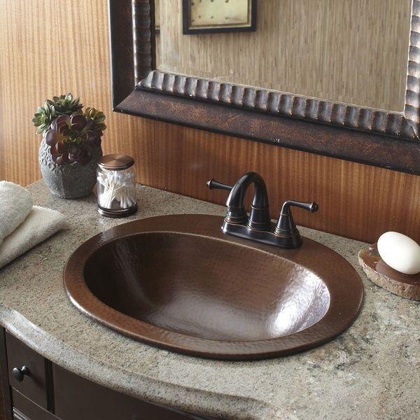 copper bathroom sink bath vanity hammered finish oval bowl single drop faucet